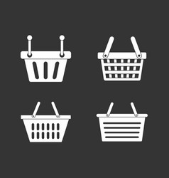 shopping basket icon set grey vector image