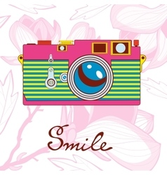 Smile concept card Elegant vintage camera on vector image