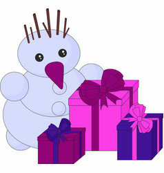 snowman and gifts on white background christmas vector image