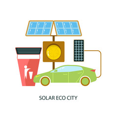 solar energy eco city vector image