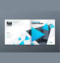 Square brochure design blue corporate business vector