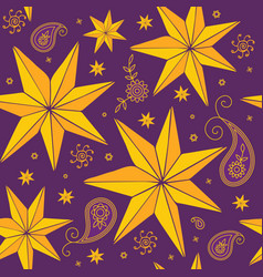 Stars and paisley pattern vector