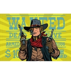 Steampunk robot bandit wild West wanted vector