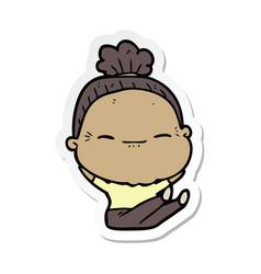 Sticker a cartoon peaceful old woman vector