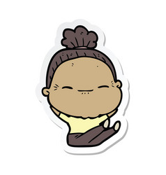 Sticker of a cartoon peaceful old woman vector