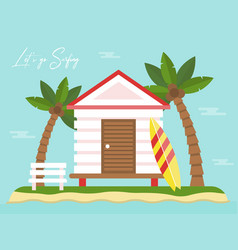 Summer holiday bungalow on island with sea view vector