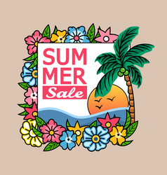 summer sale palm tree banner vector image