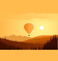 Sun landscape and balloon flying vector