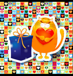 Sweet kitten and gift vector