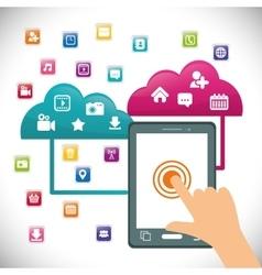 Tablet cloud mobile apps design vector