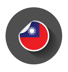 taiwan sticker with flag with long shadow vector image