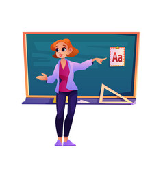 teacher explaining material learning abc school vector image