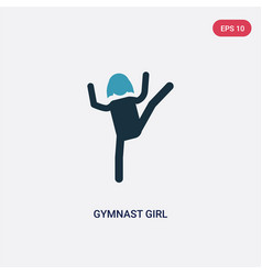 two color gymnast girl icon from people concept vector image