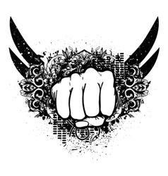 Urban emblem with fist vector