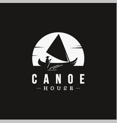 vintage logo canoe and sailing at moon night vector image