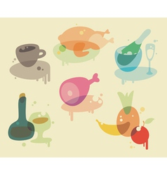 Watercolor food icons vector