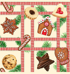 watercolor high quality gingerbread cookies vector image
