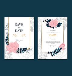 websimple elegant rose wedding frames card and vector image