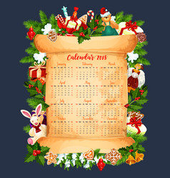Winter holiday 2018 calendar template vector