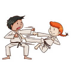A male and a female doing martial arts vector image vector image