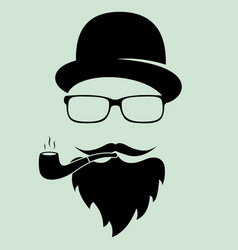man with glasses and a hat with a pipe a vector image vector image