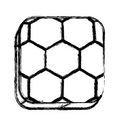 monochrome sketch of square button with soccer vector image