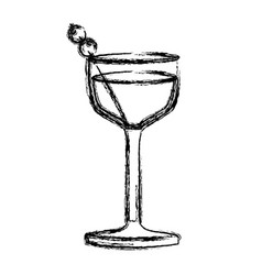 monochrome sketch silhouette of glass cocktail vector image vector image