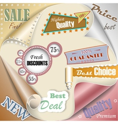Retro and vintage paper sale elements eps10 vector image vector image