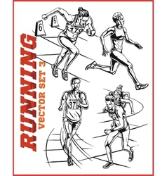 running people collection - vector image