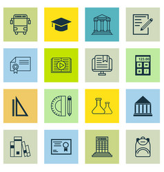 set of 16 school icons includes e-study vector image vector image