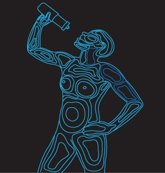 Wireframe Body Drinking Water vector image