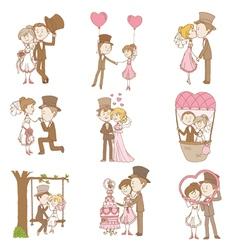 Bride and groom - wedding doodle set vector