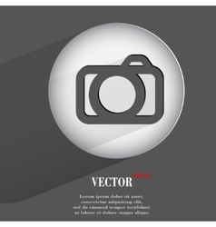 camera Flat modern web button with long shadow and vector image vector image