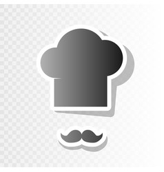 chef hat and moustache sign new year vector image vector image