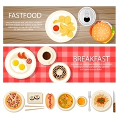 Fastfood Banners Set With Food Icons vector image vector image