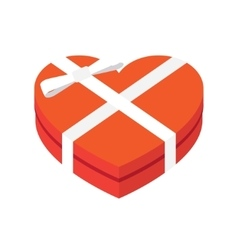 hearts shaped box with bow vector image