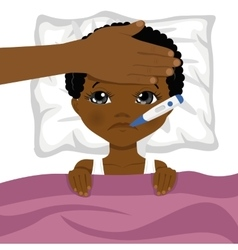 little african american boy ill in bed vector image vector image