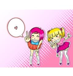 manga girls vector image vector image