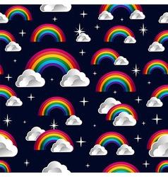 Rainbow clouds cartoon seamless pattern vector image