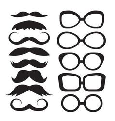 Set glasses and mustache vector image vector image