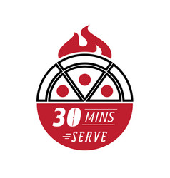 fresh pizza 30 minutes serve vector image