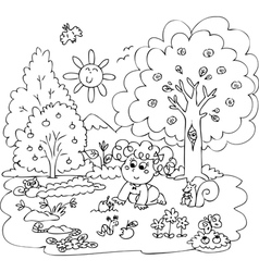 Girl playing with little animals vector image vector image