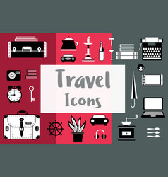 set of flat travel icons in a flat style with a vector image vector image