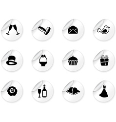 Stickers with wedding icons vector image vector image