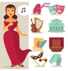 Theatre acting performance icons set vector image