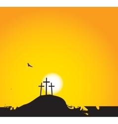three crosses on Mount Calvary vector image vector image