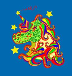 unicorn icon isolated on dark blue background vector image