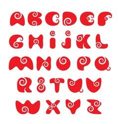 ABC - english alphabet - red funny spiral cartoon vector image
