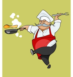 cartoon mustachioed chef joy jumping with a frying vector image