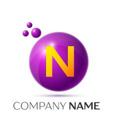 N letter splash purple dots and circle bubble vector